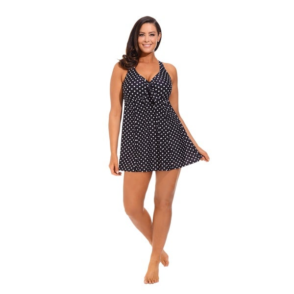 Black/ White Tie Front Swimdress