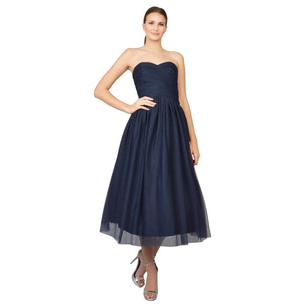 ML Monique Lhuillier Women's Blue Strapless Draped Bodice Tulle Cocktail Dress