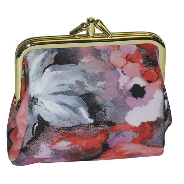 Buxton 'Water Rose' Floral Print Triple Frame Coin Purse