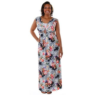 Hadari Women's Plus Casual V-Neck Floral Maxi Dress