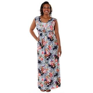 Hadari Women's Contemporary Plus Casual V-Neck Floral Maxi Dres