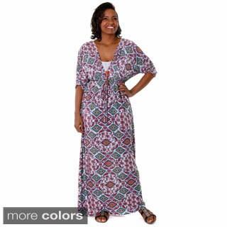 Hadari Women's Plus Paisley Maxi Dress