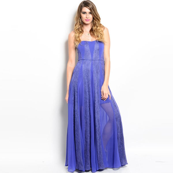 Shop The Trends Women's Blue Chiffon-inset Strapless Maxi Dress