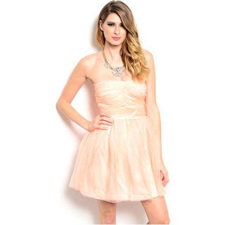 Shop The Trends Women's Peach Strapless Baby Doll Short Dress
