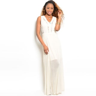 Shop The Trends Women's Cream Chiffon Long Dress