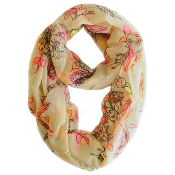 Peach Couture Peach Cherry Blossom Print Loop Scarf