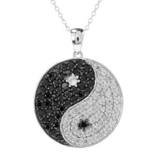 Rhodium-plated Silver 3 7/8ct TGW White Zircon and Black Spinel Pendant Necklace