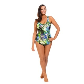 Tropical Sarong Front Swimsuit