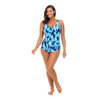 Blue Sarong Front Swimsuit