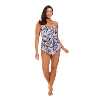 Gray Triple Tier Ruffle Swimsuit