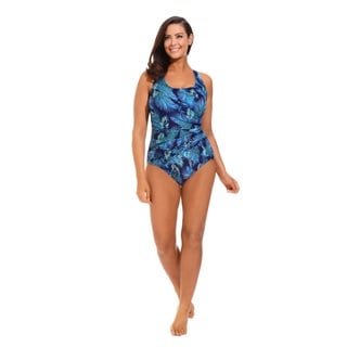 Women's Teal Shirred Wrap Tank One-piece Swimsuit