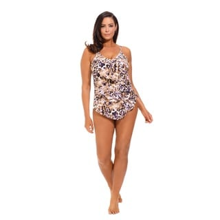Purple Animal Print Triple-Tier Ruffle Swimsuit
