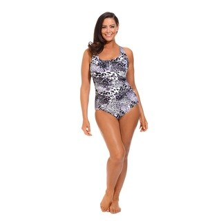 Women's Plus Size Black and White Shirred Wrap Swimsuit