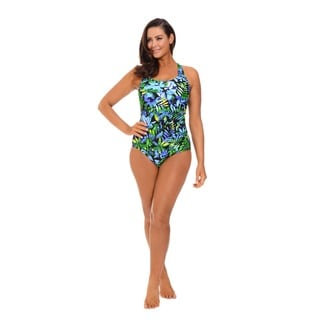 Tropical Print Blue and Green Side Shirred Swimsuit