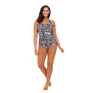 Black Animal Print Side Shirred Swimsuit