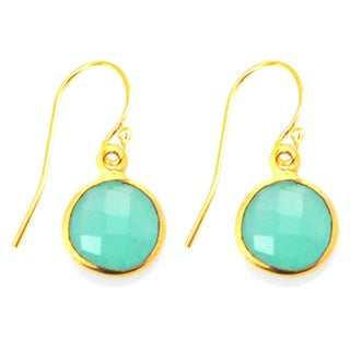 Gold Overlay Peru Chalcedony Drop Earrings