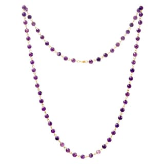 Alchemy Jewelry Gold Overlay Amethyst Bead Necklace