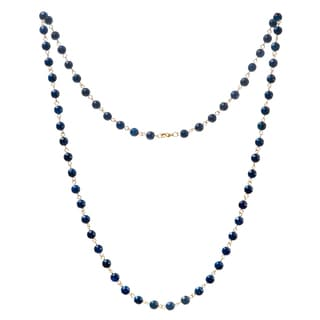 Alchemy Jewelry 22k Gold Overlay Blue Agate Bead Necklace