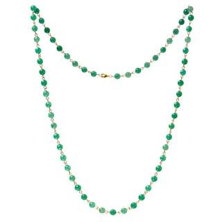 Alchemy Jewelry 22k Gold Overlay Green Aventurine Bead Necklace