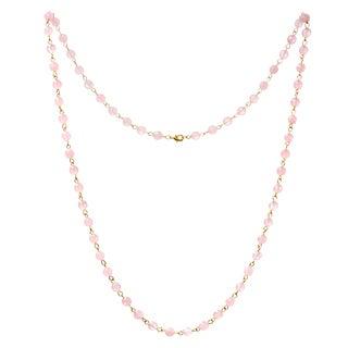 Alchemy Jewelry 22k Gold Overlay Rose Quartz Bead Necklace