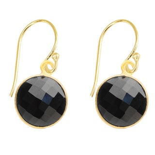 Gold Over Silver Black Onyx Drop Earrings