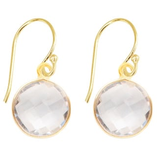 Alchemy Jewelry Gold Overlay Faceted White Quartz Gemstone Drop Earrings