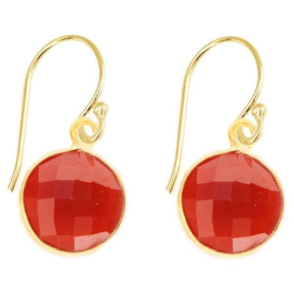 Alchemy Jewelry Gold Overlay Red Onyx Gemstone Earrings