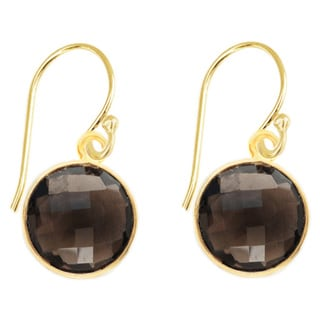Alchemy Jewelry Gold Overlay Smoky Quartz Faceted Gemstone Earrings