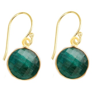 Alchemy Jewelry Gold Overlay Faceted Dyed Emerald Gemstone Earrings