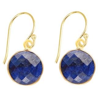 Gold Over Silver Blue Gemstone Earrings