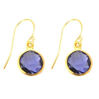 Gold Overlay Blue Circle Gemstone Earrings