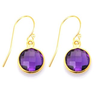 Gold Overlay Purple Amethyst Drop Earrings