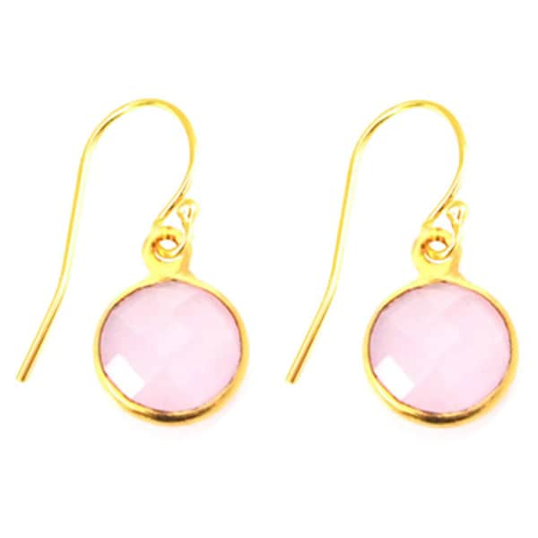 Alchemy Jewelry Gold Overlay Pink Gemstone Circle Drop Earrings