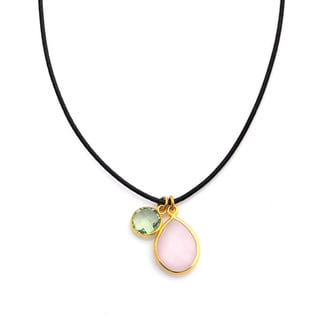Alchemy Jewelry Pink Chalcedony and Green Quartz Gemstone Necklace