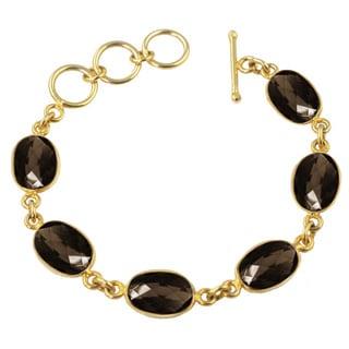 Brown Oval Quartz Gemstone Bracelet