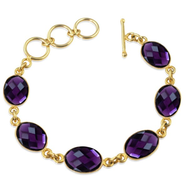 Alchemy Jewelry Purple Amethyst Oval Gemstone Bracelet