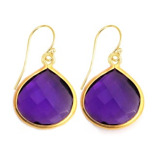 Gold Overlay Pear-cut Purple Amethyst Drop Earrings