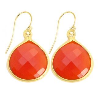 Gold Overlay Red Onyx Gemstone Earrings