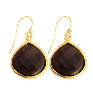 Alchemy Jewelry Gold Overlay Deep Brown Smoky Quartz Earrings