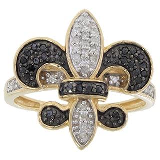 10k Yellow Gold 1/3ct TDW Black and White Diamond Fleur de Lis Ring (G-H, I1-I2)