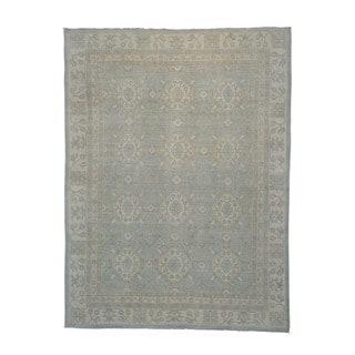 Handmade White Wash Khotan Oriental Wool Area Rug (9' x 12')