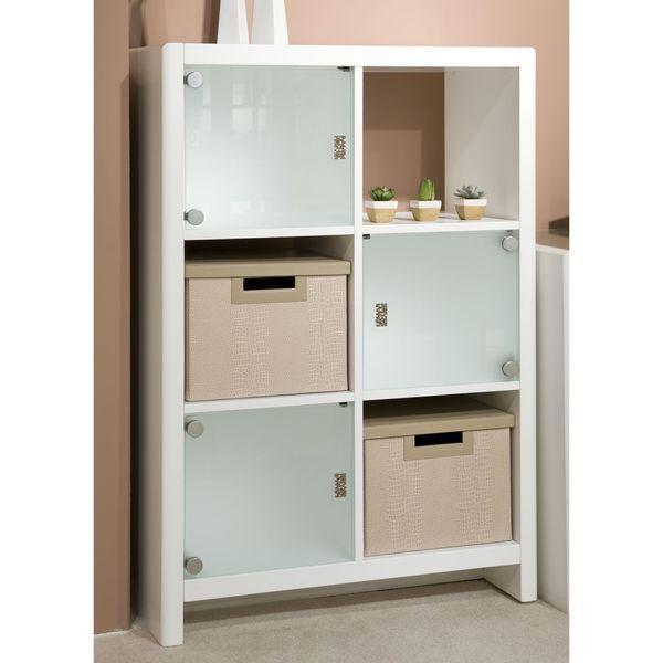 kathy ireland Office by Bush Furniture 6-Cube Bookcase in Plumeria White Finish