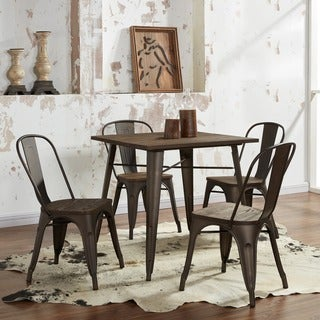 Modus Industrial Style Dining Table with wood top-Gunmetal