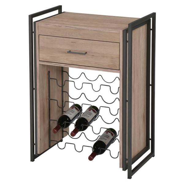 Munich 16 Bottle Bar Console-Washed Oak/Grey Metal