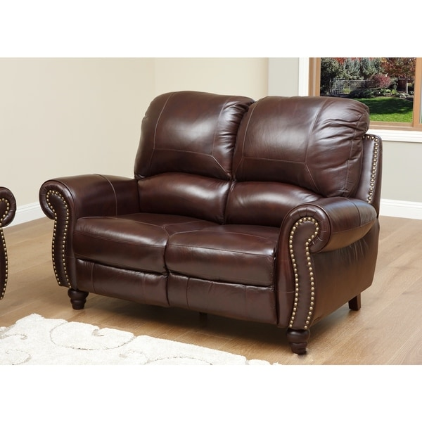 Abbyson Living 39 Madison 39 Top Grain Leather Pushback Reclining Loveseat 17119564 Overstock