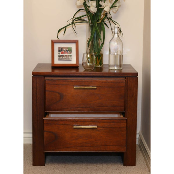 Somette Wyatt Honey 2-drawer Nightstand