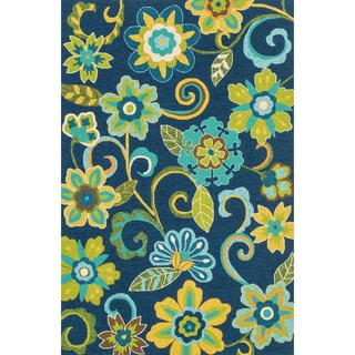 Hand-hooked Indoor/ Outdoor Capri Blue/ Green Floral Rug (7'6 x 9'6)