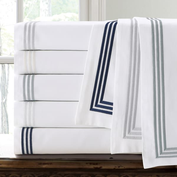 Echelon Home Three Line Hotel Collection Cotton Sateen Euro Shams (Set of 2) (As Is Item)