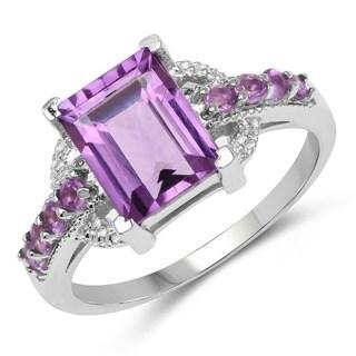 Malaika Sterling Silver Baguette-cut Amethyst Ring