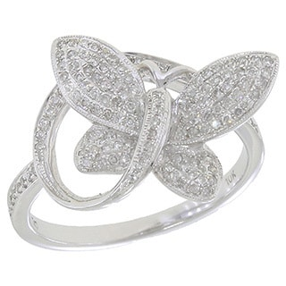 10k White Gold 1/3ct TDW Diamond Butterfly Ring (G-H, SI3)